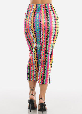 Multicolor Geo Print High Waist Pencil Skirt
