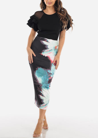 Image of Floral Maxi Pencil Skirt