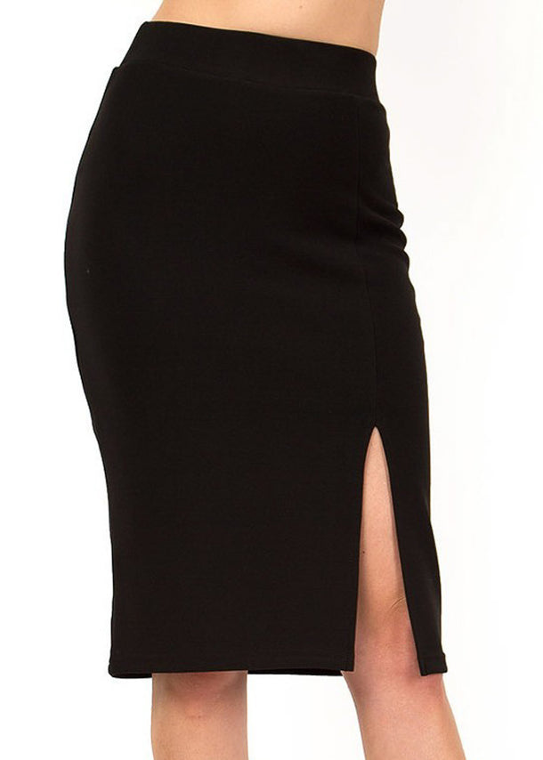 Black Thigh Slit Pencil Skirt