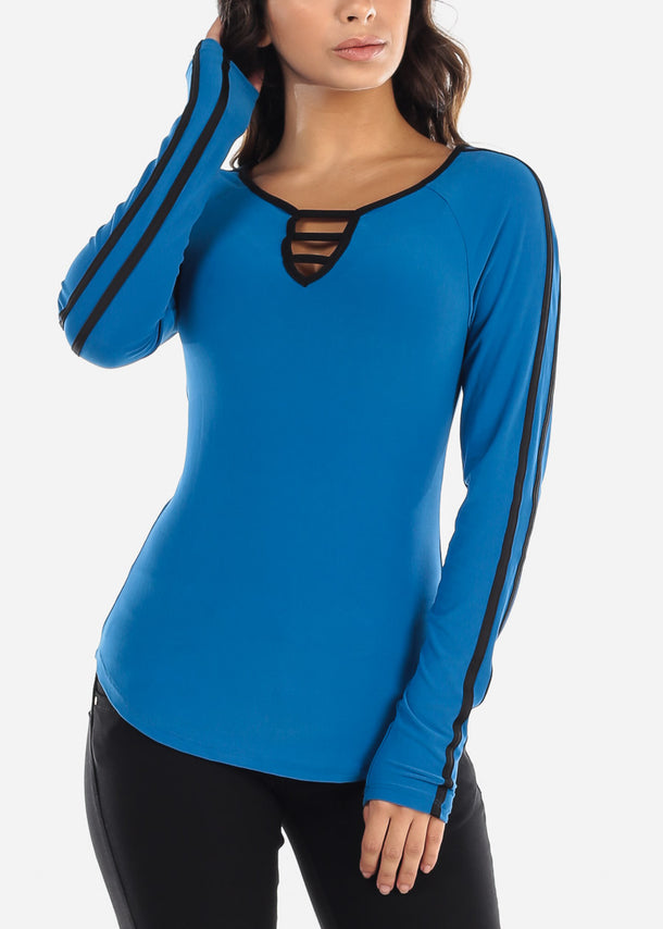 Strappy Chest Blue Long Sleeve Top
