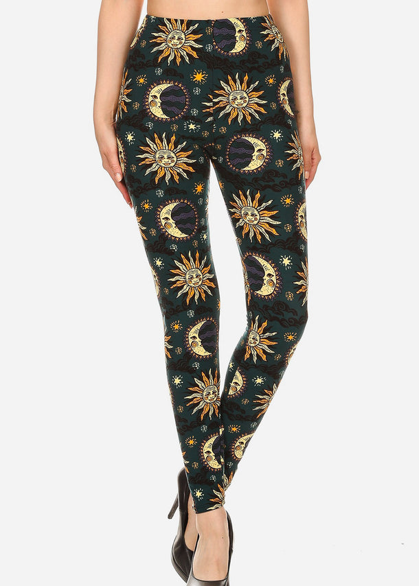 Activewear Sun & Moon Printed Leggings