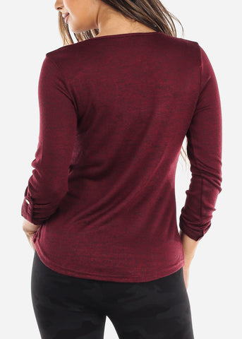 Image of Burgundy Front Pocket Top