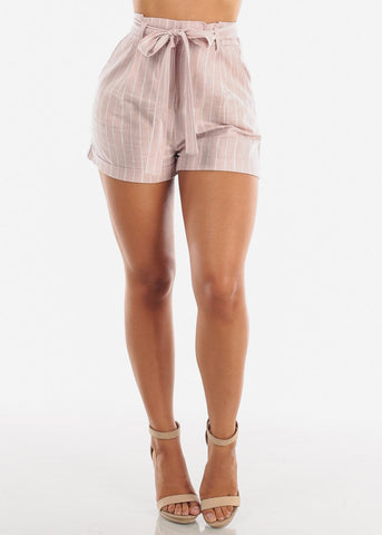 Image of Cute Lightweight Linen Grey And White Stripe High Waisted Paper Bag Shorts With Tie Belt For Women Ladies Junior