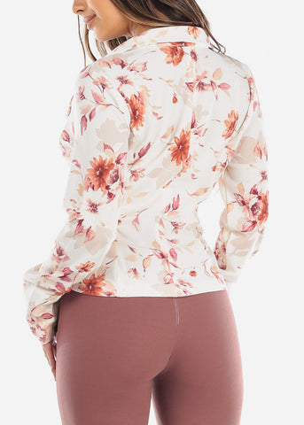 Image of Floral White Blazer