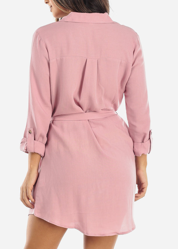 Pink Half Button Belted Shirt Dress