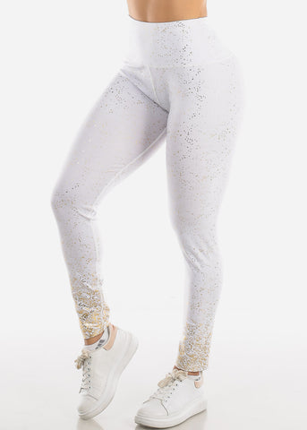Image of Activewear Gold Printed White Leggings