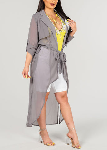 Women's Junior Ladies Stylish Sexy Long Sleeve Chiffon Trench Coat Oversized Long Maxi Kimono Grey Cardigan Blazer