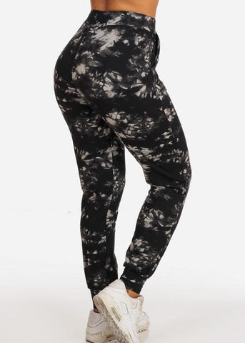 Casual Tie Dye High Waisted Work Out Stretchy Jogging Black Jogger Pants
