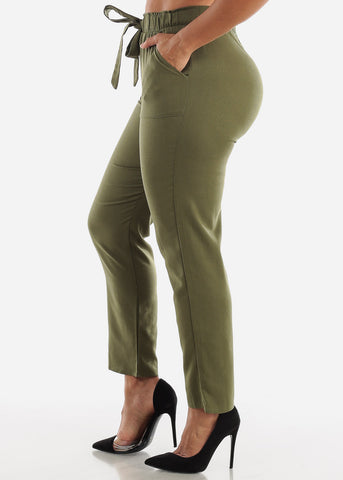 Image of Olive Drawstring Linen Pants