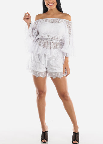 White Lacy Top & Shorts (2 PCE SET)