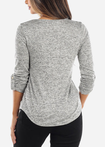 Grey Front Pocket Top TB2593GRYCHRC