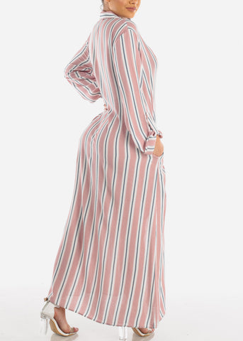 Stylish Lightweight Mauve Stripe Loose Fit Button Up Maxi Cardigan For Women Ladies Junior