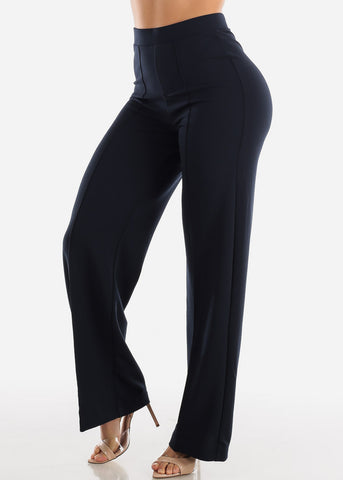 Image of Wide Legged Navy Dressy Pants