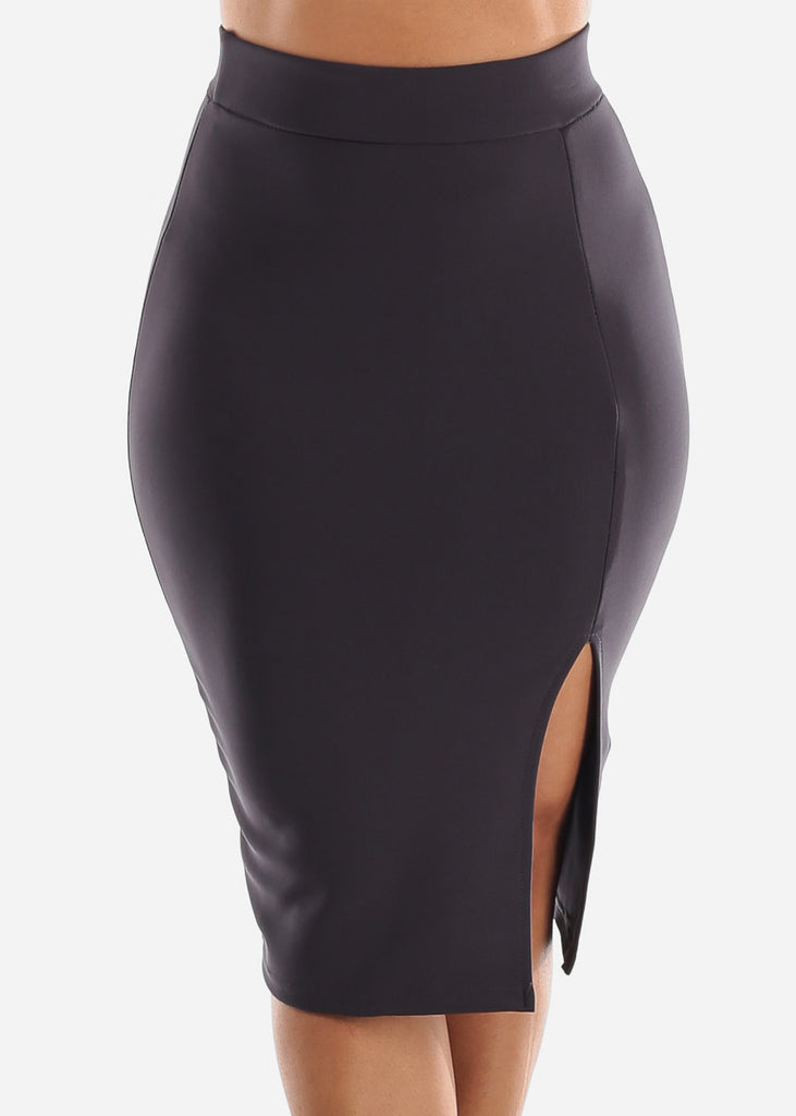 Charcoal Thigh Slit Pencil Skirt