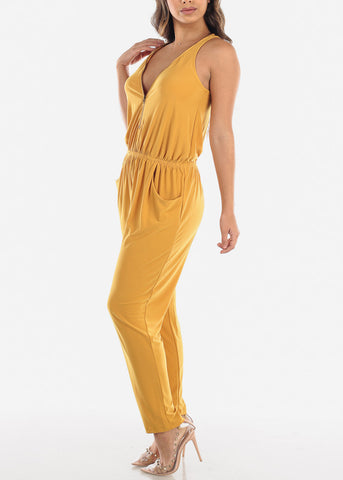 Image of Zip Up Front Sleeveless Mustard Jumpsuit