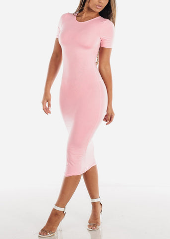 Image of Pink Bodycon T-Shirt Dress