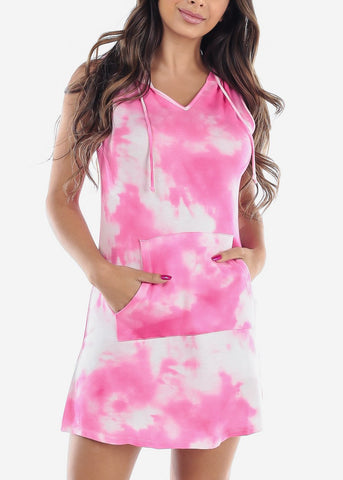 Image of Cute Sleeveless Tie Dye Pink Dress For Women Ladies Junior At Discount Sale Price