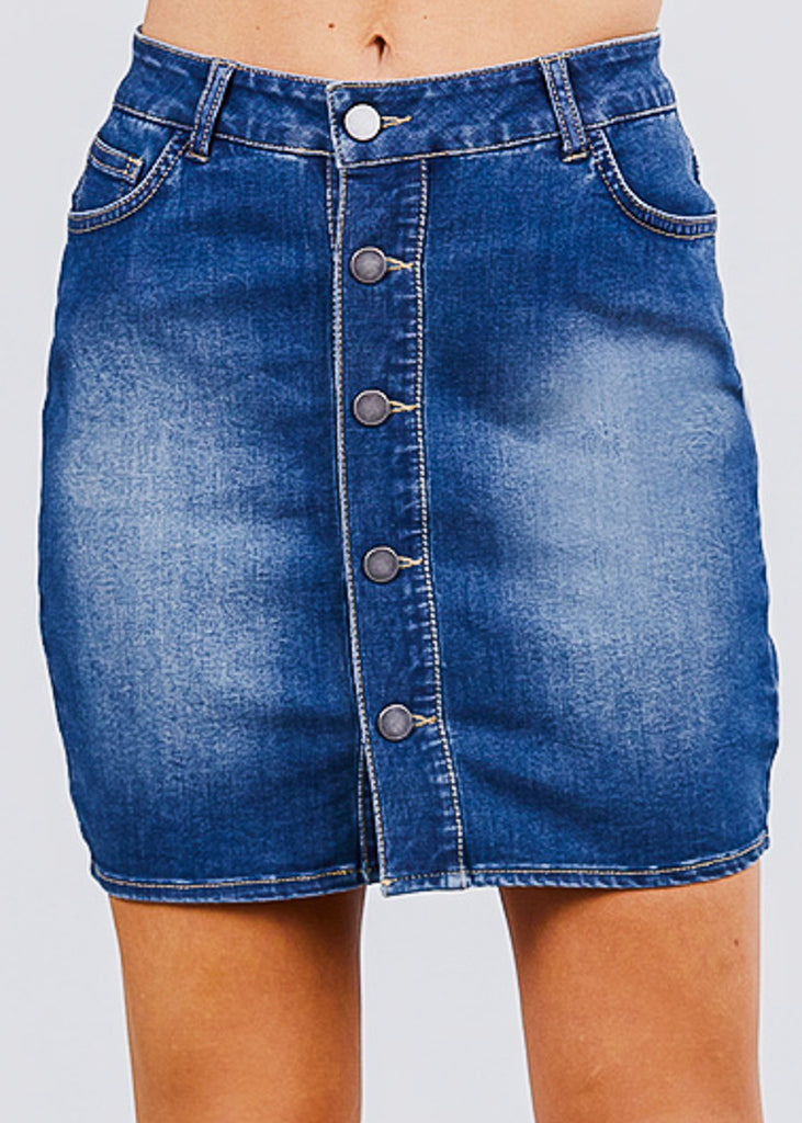 Button Down Denim Mini Skirt