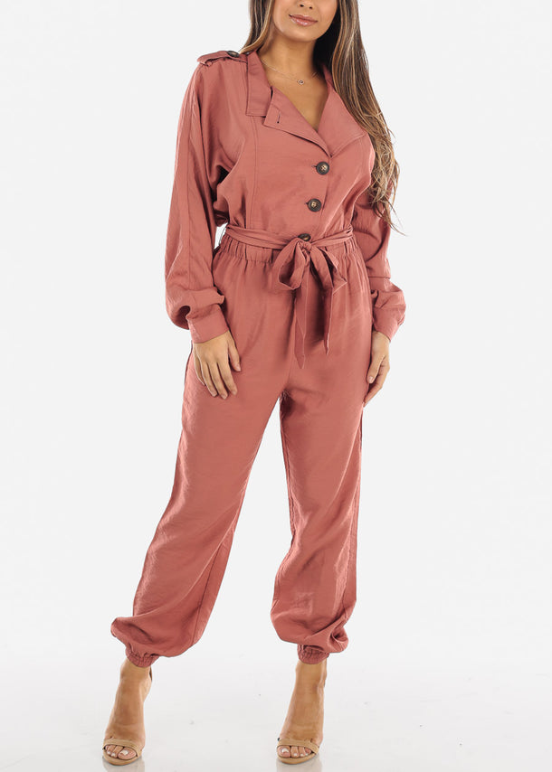 Salmon Button Down Jogger Jumpsuit