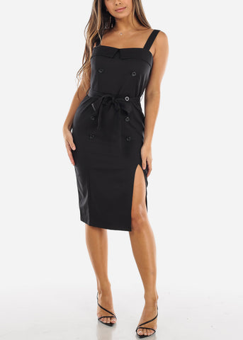 Image of Black Button Front Apron Dress