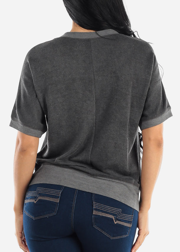 Short Sleeve Charcoal Top