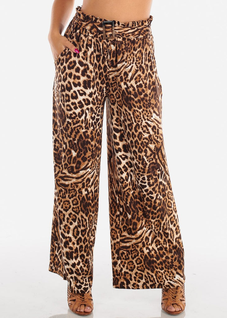 Sexy Trendy Ultra High Waisted Animal Print Wide Legged Palazzo Pants For Women Ladies Junior On Sale Miami Style 2019 New Modaxpress