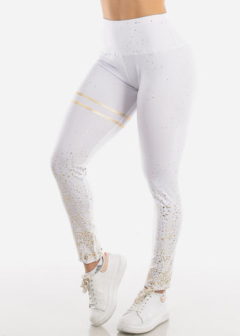 Image of Activewear Printed Gold White Leggings