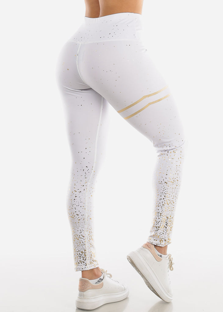 Activewear Printed Gold White Leggings