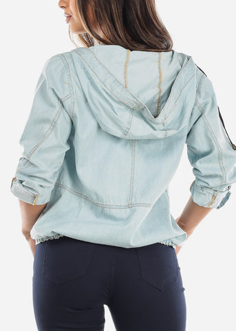 Light Denim Zip Up Jacket