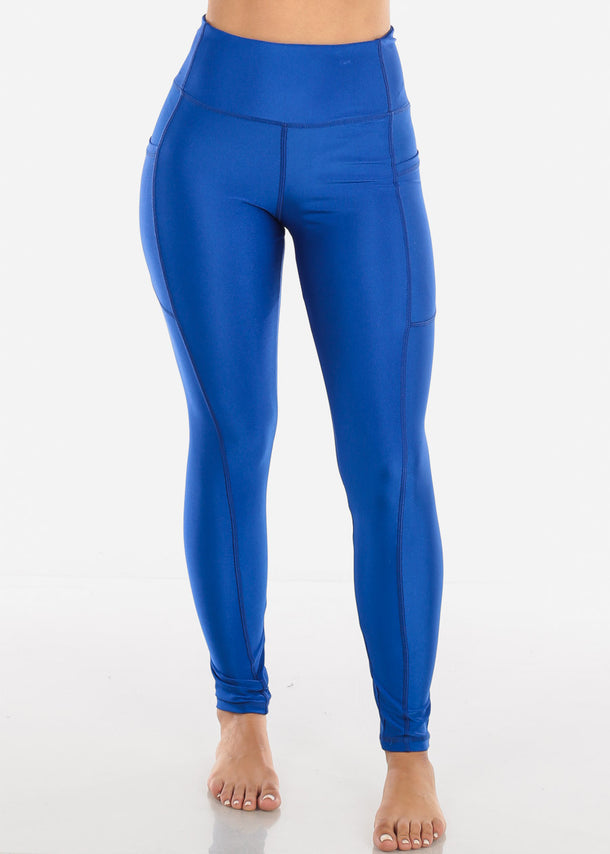 Activewear High Rise Blue Solid Leggings