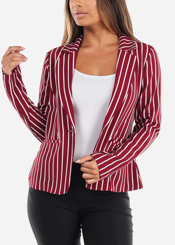 One Button Red Striped Blazer