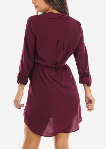 Image of Burgundy Button Down Shirt Dress