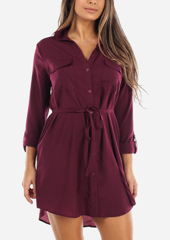 Burgundy Button Down Shirt Dress