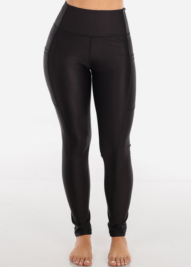 Activewear High Rise Black Solid Leggings