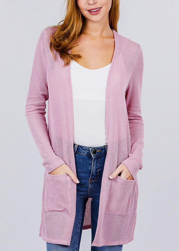 Pink Bottom Pocket Knit Cardigan