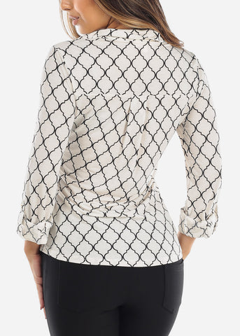 Image of White Quatrefoil Blouse