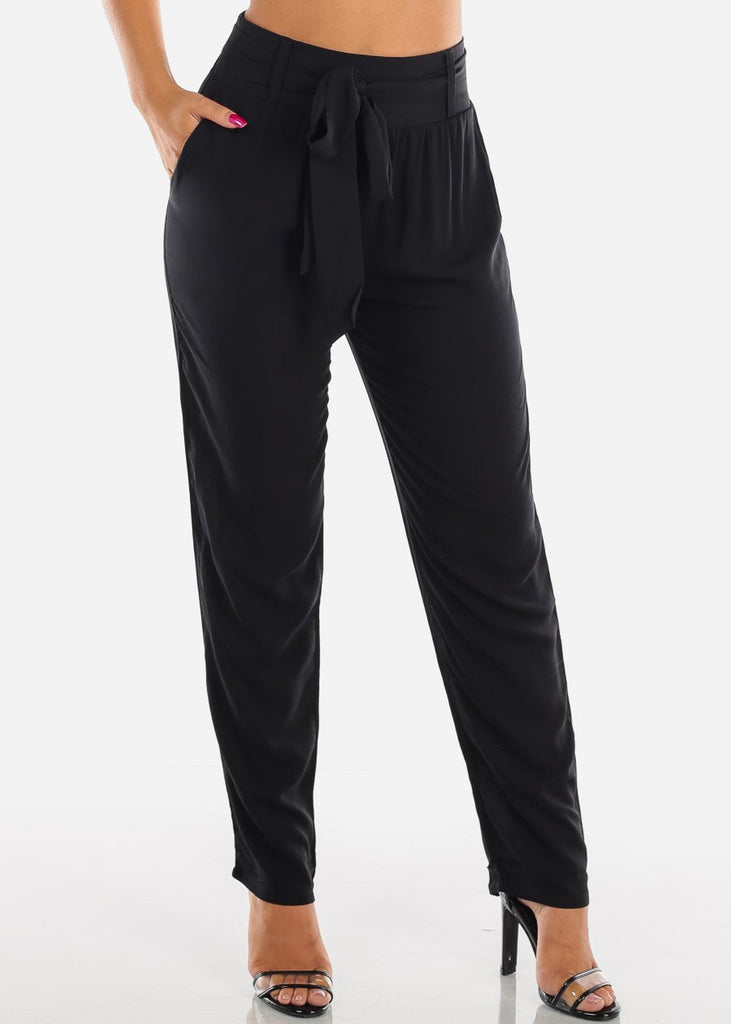 Belted High Rise Black Pants