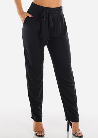 Image of Belted High Rise Black Pants