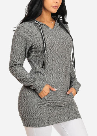 Image of Knitted Grey Tunic Top W Hood
