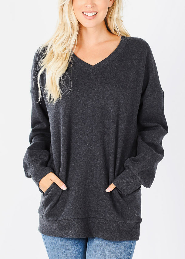 Charcoal V-Neck Sweatshirt W Pockets