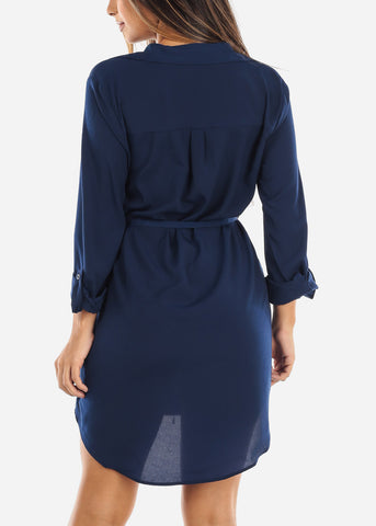Image of Navy Button Down Shirt Dress