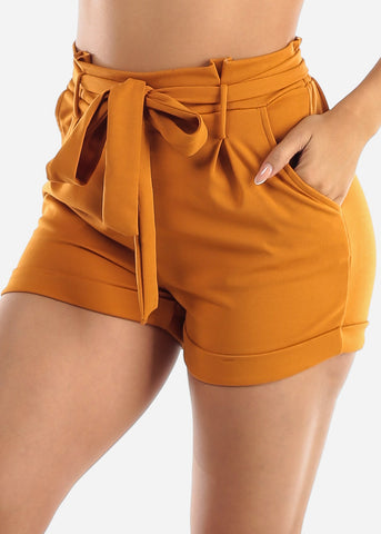 Image of High Rise Mustard Paperbag Shorts