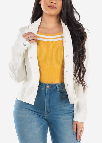 Long Sleeve Button Up Solid White Denim Jacket For Women Ladies Junior