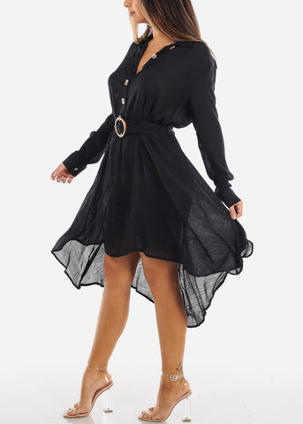 Image of Black Half Button Asymmetric Dress