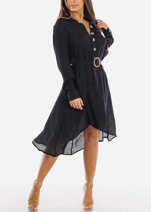 Black Half Button Asymmetric Dress