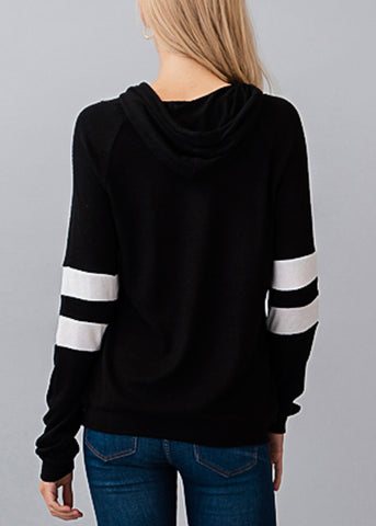 Image of Stripe Sleeves Black Hoodie