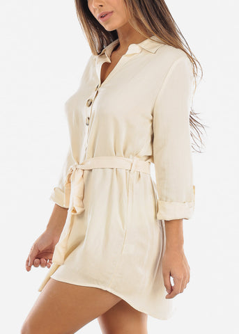 Cream Half Button Belted Shirt Dress