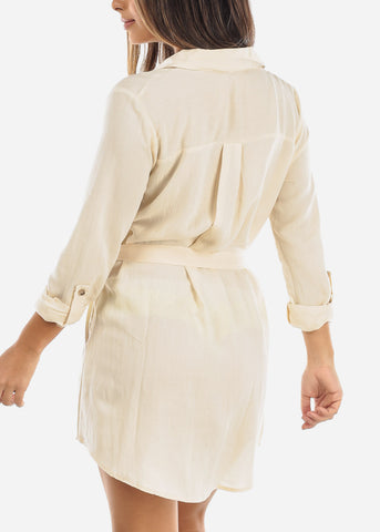 Image of Cream Half Button Belted Shirt Dress