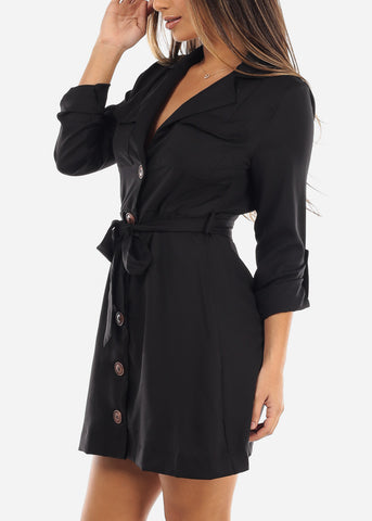 Black Button Down Shirt Dress