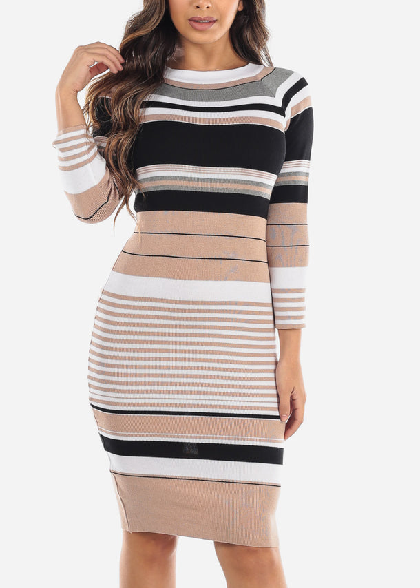 Beige Striped Sweater Dress